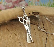 Halskette Friseur Kamm Schere mit Perlen, Anhänger Silber Kette Frisör Stylist