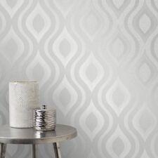 Fine Decor Cuarzo Gris Plata Brillo geométrica característica Papel Pintado Retro FD41968