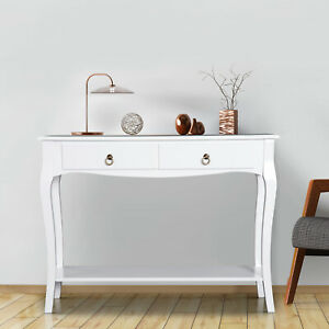 HOMCOM Console Table 2 Drawers Hall Sideboard  Dressing Table Desk Ivory White