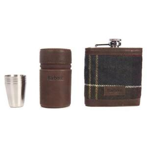 Barbour Tartan Hip Flask and Stainless Steel Cups Gift Set Leather Case