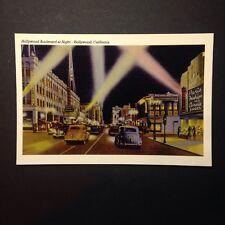 Hollywood Boulevard At Night, Hollywood California Postcard