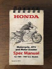 Honda Motorcycle Atv Motor Scooter Spec Manual 1981-1987 Us Models 1992