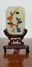 Antique Vintage Chinese Jade Plaque w/ Precious Stone Objects & Stand