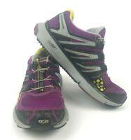 Salomon XR Mission 1 Womens  Trail Running  Hiking Shoes Purple Yellow Gray Sz7