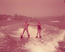 Yul Brynner water skiis w/wife candid 1953 VINTAGE 4x5 Transparency