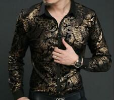 Mens Floral Printed shirts Slim Fit Silk Pleuche Gold Tops Casual Formal Dress