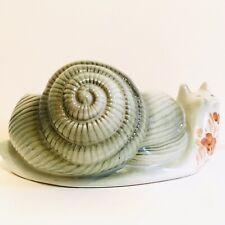 Kitsch Hand Painted Pottery Snail Planter Portugal Floral Glazed Pot Vintage