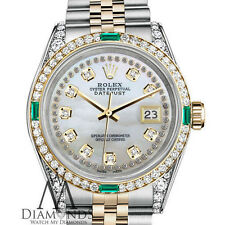 Rolex SS & Gold 26mm Datejust Watch White MOP String Emerald Diamond Dial