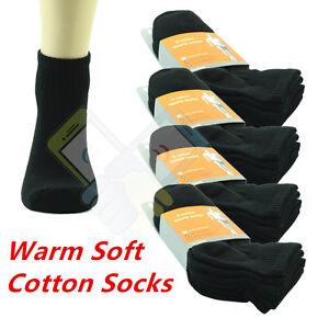(BLACK) 12 Pairs Ankle/Quarter Crew Mens Socks Cotton Low Cut Size 9-11 10-13