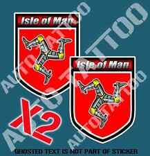 ISLE OF MAN SHIELD DECAL STICKER SET MOTORSPORT RALLY MOTORBIKE EDM STICKERS