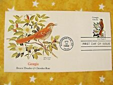 1982 STATE BIRDS & FLOWERS Series Georgia Thrasher & Rose UNADRESSED Stamp