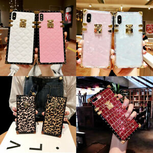 For iPhone 12 Pro Max 11 XS XR 8 7 Luxury Retro Square Marble Glitter Case Cover
