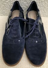 Clarks Blue Suede Patent Leather Flat Brogues Lace Ups Work Formal Size 7 EUR 7