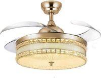 Modern Crystal Chandelier Ceiling Fan with Remote Control Retractable Blades