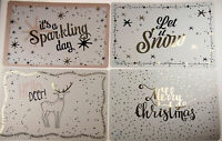 Set Of 4 White Glossy / Metallic Plastic Christmas Table Place Mats - 44 x 28 cm