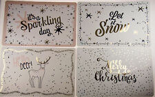 Set Of 4 White Glossy / Metallic Plastic Christmas Table Place Mats - 44 x 28 cm