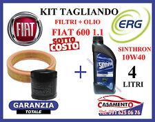 KIT TAGLIANDO OLIO MOTORE ERG 10W40 + FILTRI FIAT 600 SEICENTO 1.1 10/2000---