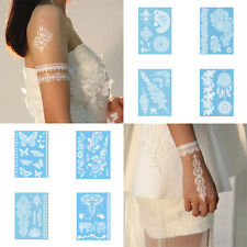 Fashion Women Henna Ink Lace Flash Body Neck Arm Temporary Tattoos Sticker White