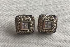 """Vintage Roman Crystal Earring Two-Tone Square Framed Crystal Glass Center 1/2"""""""
