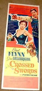'53 poster CROSSED SWORDS Errol Flynn Gina Lollobrigida