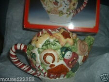 Christmas Holiday Gingerbread Teapot Handpainted w Box