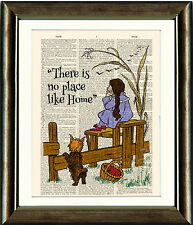 OLD ANTIQUE BOOK PAGE DIGITAL ART PRINT Wizard of Oz There Is No Place like Home