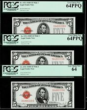3 Consecutive 1928F~Five Dollar $5 Legal Tender Note ~ PCGS 64 PPQ