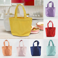 Women Plain Small Canvas Bag Tote Bag Handbag Lunch Bags Cosmetic Storage Bags