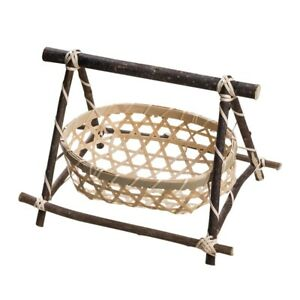 Handmade Bamboo Weaving Storage Baskets Nuts Snack Picnic Bread Basket Container