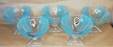 More details for walther & sohne art deco chevron frosted baby blue glass dessert dishes  5x