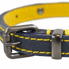 Joules Leather Dog Collar - Navy /yellow Small - Large