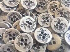 """13 Old Metal ANCHOR BUTTONS Antique Brass Finish 15/mm 5/8"""" 4Hole"""