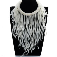 Kalse Resin Pearl Beads Chunky Statement Bib Long Charm Chain Necklace White