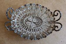 Petit panier coupe plateau miniature argent massif filigrane Ancien silver antic