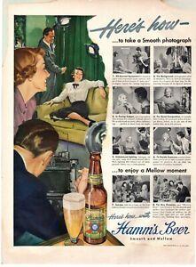 1949 ORIGINAL VINTAGE HAMM'S BEER MAGAZINE AD
