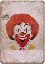 "Ronald McDonald Face Mask Vintage Ad 10"" X 7"" Reproduction Metal Sign N238"