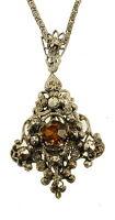 """Antique Deco Czech Amber Marcasites Silver Finish Laveliere Necklace 16"""" 2"""" Drop"""