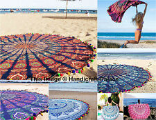 5 PC Wholesale Lot Round Mandala Tapestry Hippie Beach Blanket Indian Yoga Mat