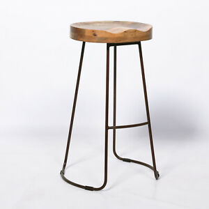 Vintage Rustic Iron Wooden Kitchen 64cm Bar Stool Metal Industrial Tractor Seat