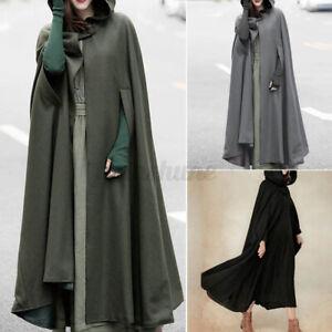 2021 Womens Oversize Hooded Hoodies Cloak Long Coat Jacket Tops Outerwear Poncho