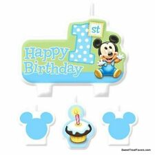 Disney Baby MICKEY Party 1st  Birthday Favors Candle Cake Topper Kit Set Babies