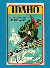 "VINTAGE ORIGINAL 1949 ""PLAYGROUND OF THE WEST"" IDAHO DOWNHILL SKIER TRAVEL DECAL"