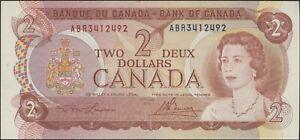1974 $2 Two Dollar Canada Bill - 2 Consecutive (Lawson/Bouey) #'s ABR3412492/93