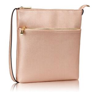Ladies cross body bag shoulder zip holiday girls champagne red adjustable strap