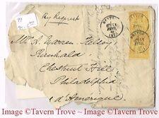 1887 Menton France to Philadelphia Cover interesting inscription Prince of Wales