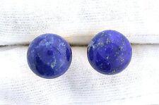 Lapis Lazuli 12mm Round Cabochon Cab Gem Gemstone Gold Color Cufflink Cuff Link
