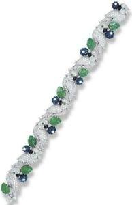 Highend Jewelry Handmade Green Leaf And Blue Flower Carved Parrot Bracelet