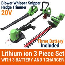 20V Lithium Cordless Leaf Blower Snipper Grass Hedge Trimmer Gardentool 3Battery