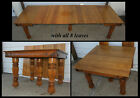"""Antique 42"""" Square Solid Oak Dining Table w 8 LEAVES Fancy Legs & Apron Carving"""
