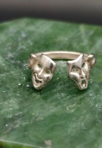 Vintage Sterling Silver Comedy & Tragedy Face Mask Ring